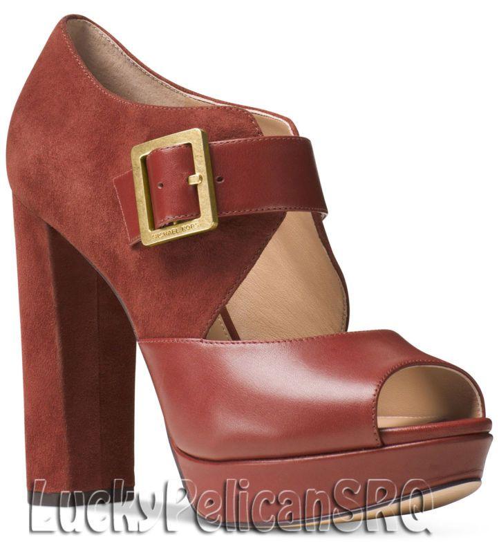 994bb386dfb Michael Kors Eleni Mary Jane Platform Pumps M(Medium) Brick Brown ...