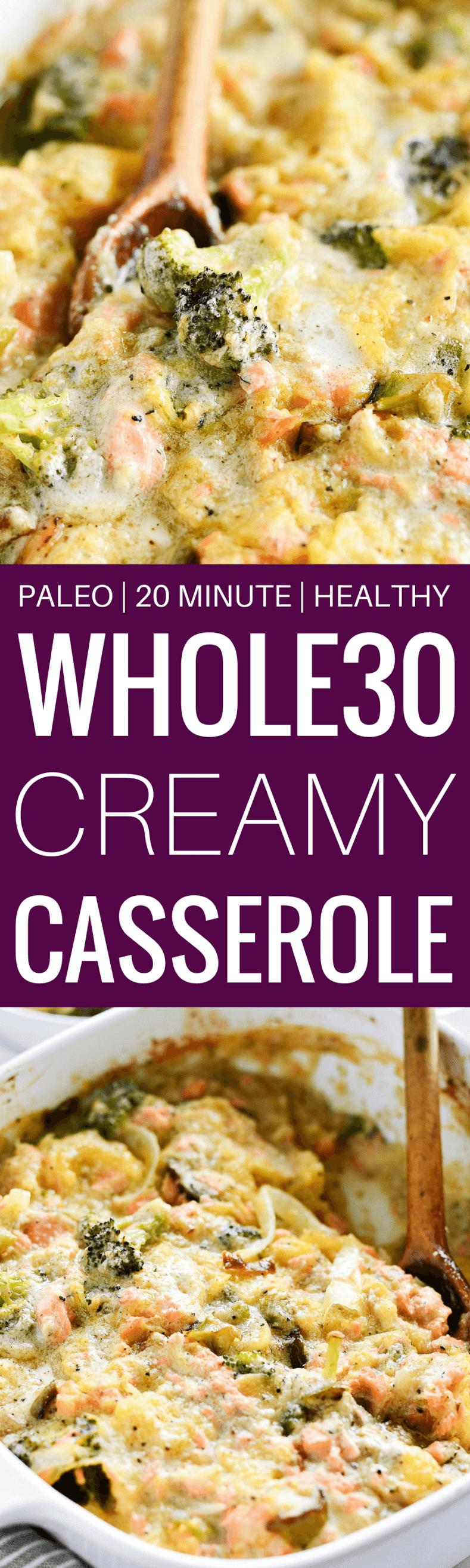 Creamy Whole30 Garlic Broccoli Salmon Spaghetti Squash Casserole - Paleo Gluten Free Eats -