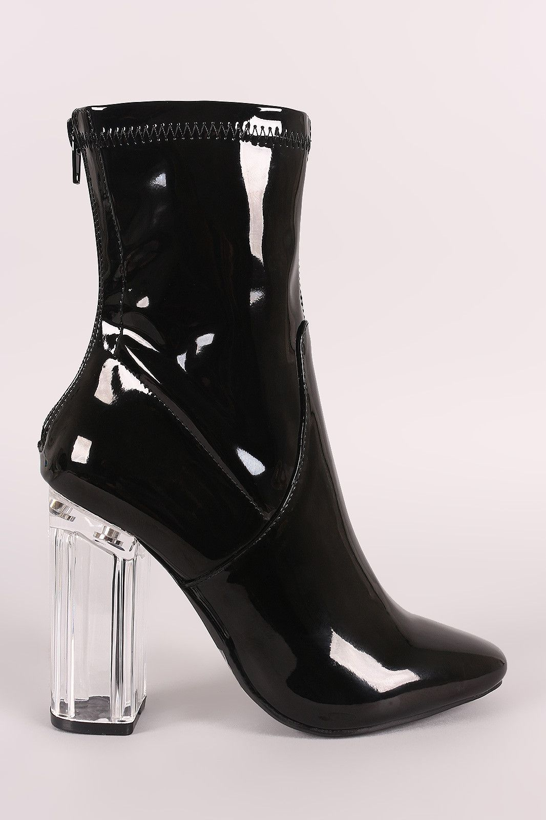 974a9b715b1 Liliana Lucite Chunky Heeled Ankle Boots   FSHN   Ankle boots, Ankle ...