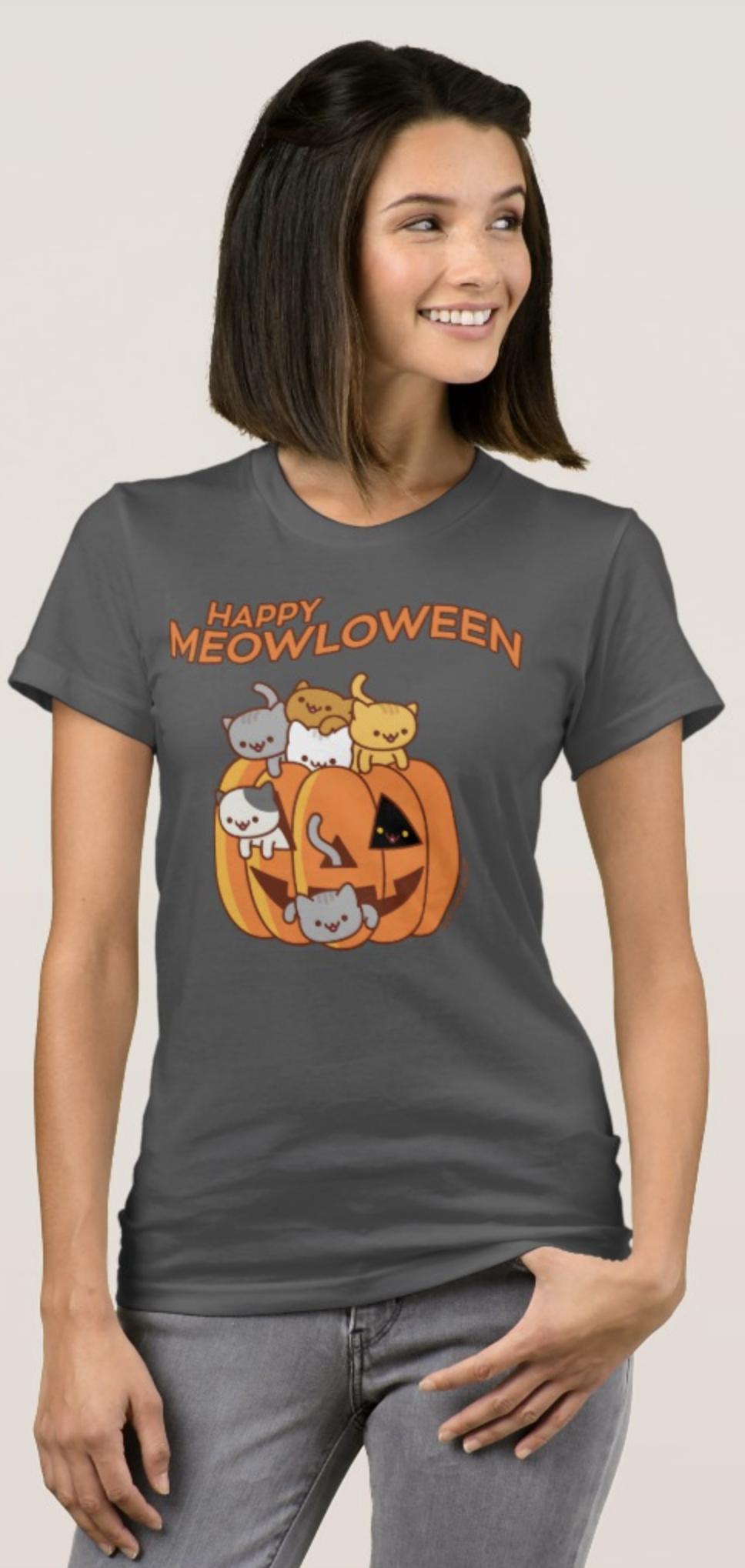 "Halloween Cat T-Shirt: ""HAPPY MEOWLOWEEN"" - Jack-O ..."