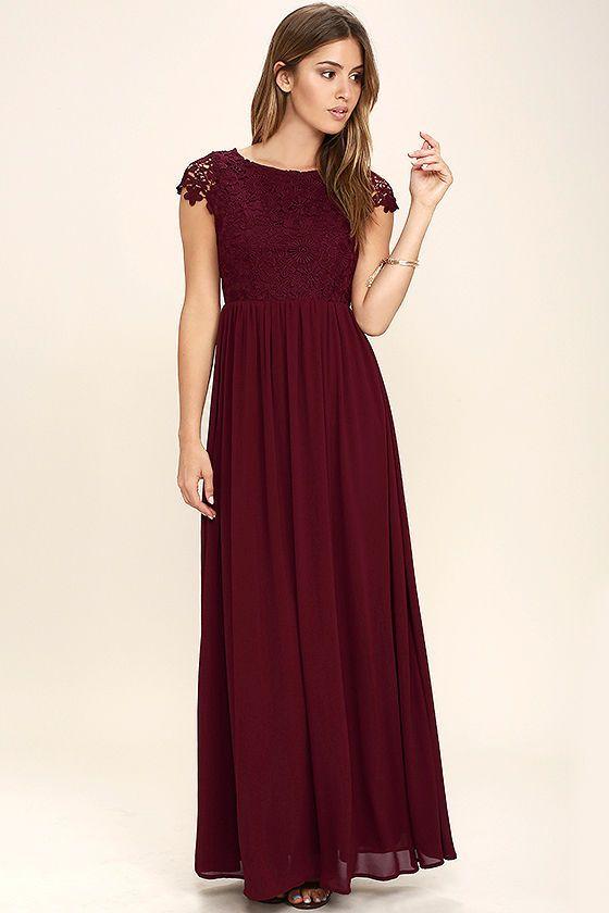 51ba156f389 Lovely Burgundy Dress - Lace Dress - Maxi Dress -  86.00