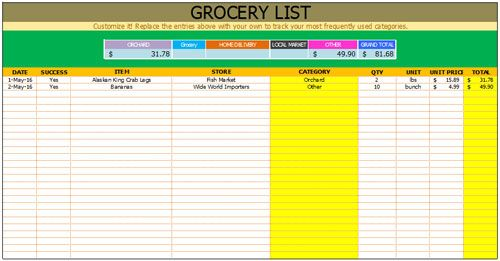 Free Grocery List Template Checklist Template Pinterest Free - grocery checklist template