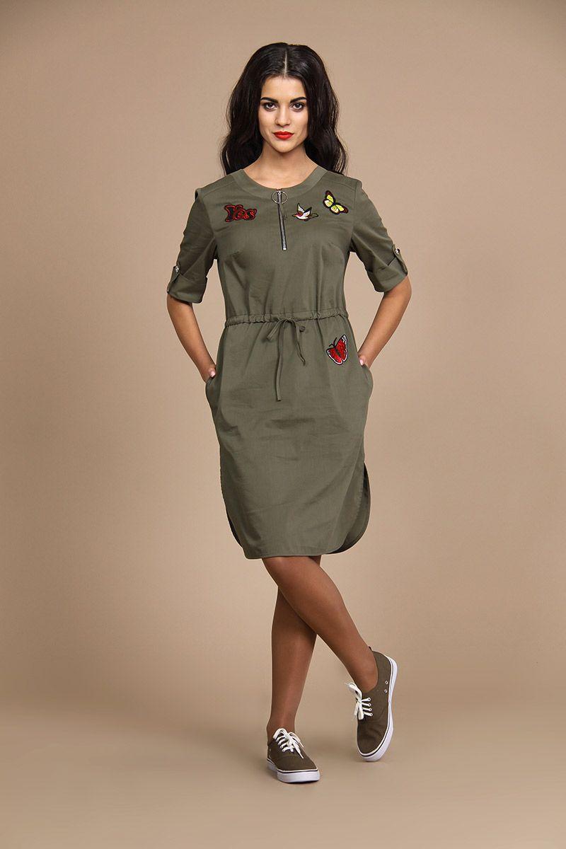 9aaf70360ce2 Платье ALANI 516 хаки купить с доставкой по России   Интернет-магазин  BelaRosso-shop.ru