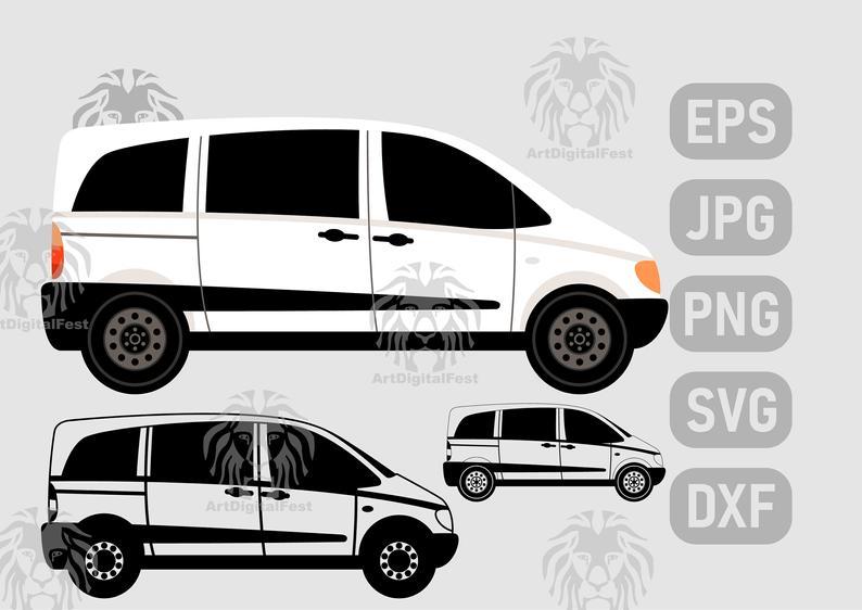 White Van Side View Svg Jpgpngepsdxf Etsy Mercedes Van Mercedes Benz Vans Van