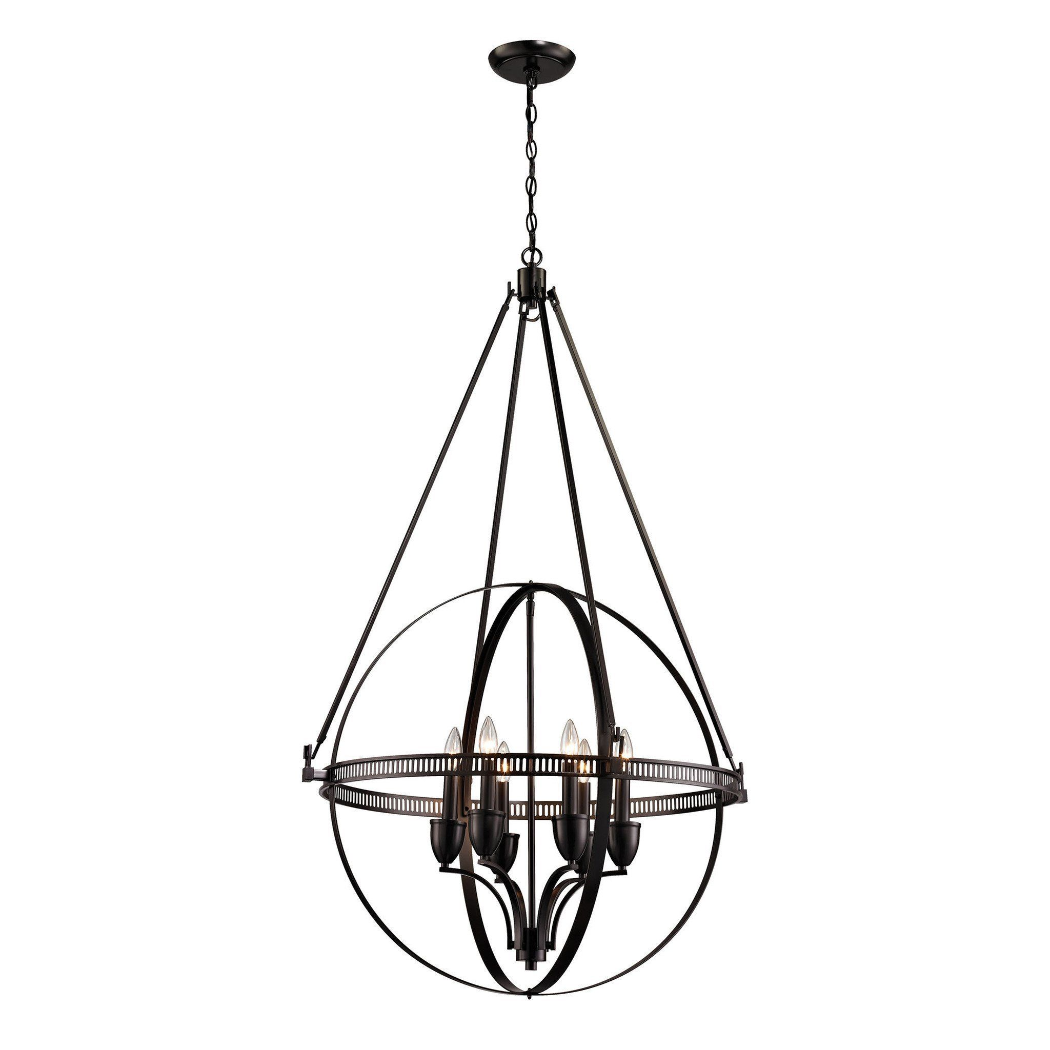 Elk Lighting 10393 6 Hemispheres Collection Oil Rubbed Bronze Finish