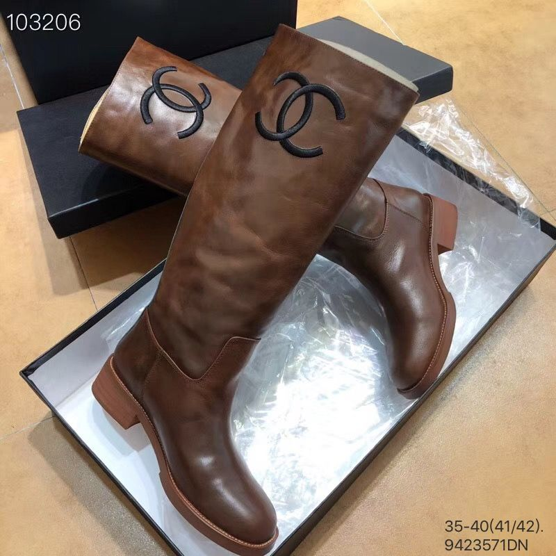 f0a6337bc3a Chanel woman CC logo shoes leather knee high long boots brown ...