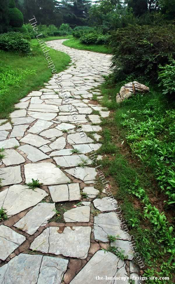 Inexpensive walkways and paths natural flagstone garden Natural stone walkways