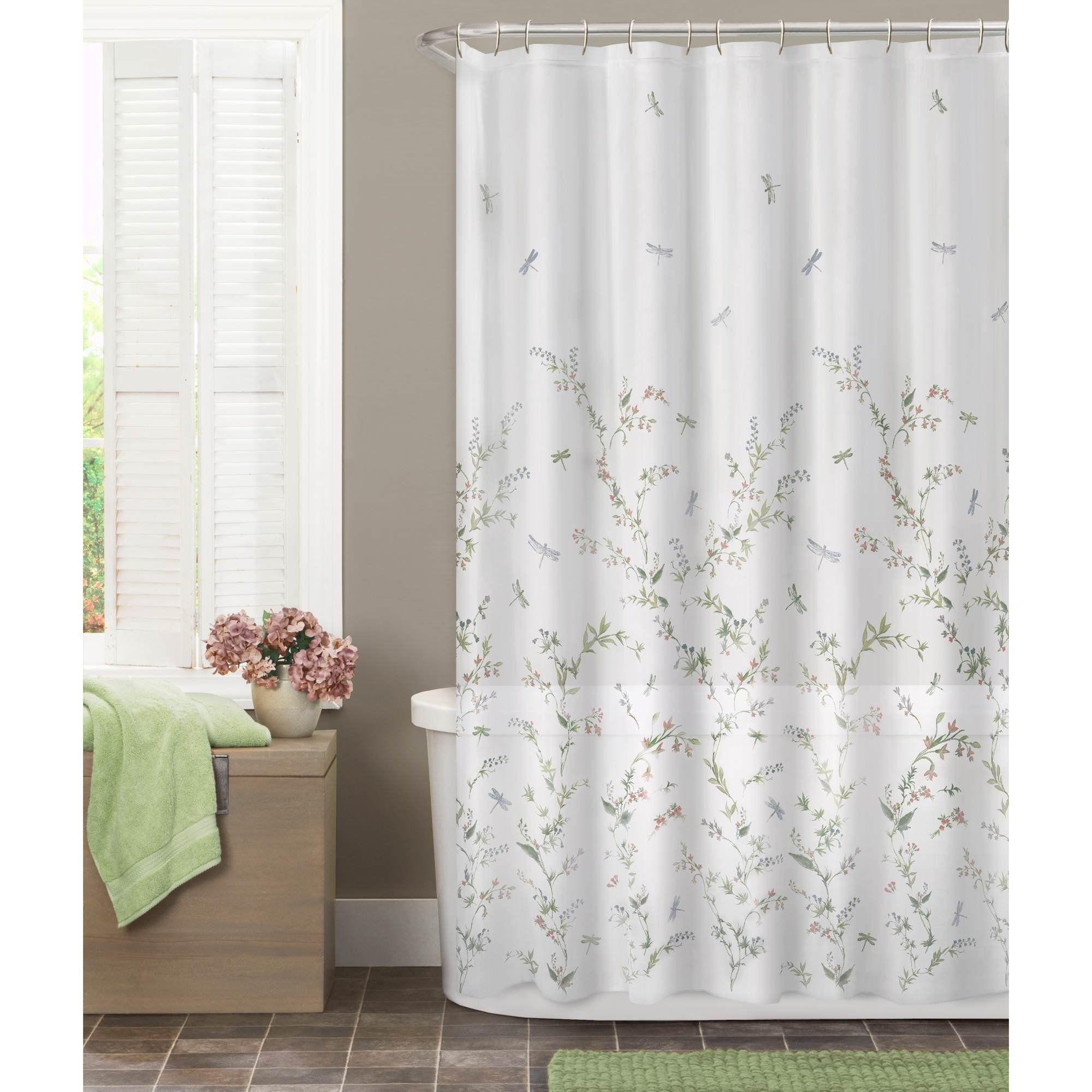 Maytex Dragonfly Garden Fabric Semi Sheer Shower Curtain Multi