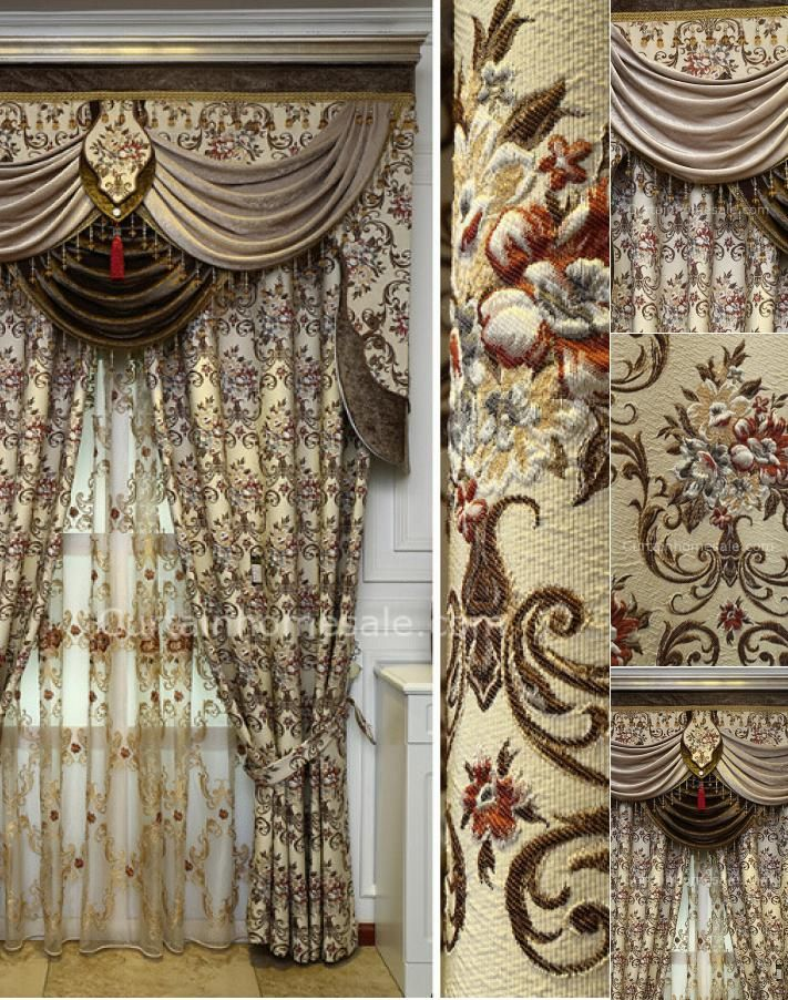 High Quality Victorian Chenille Living Room Curtain In Beige No