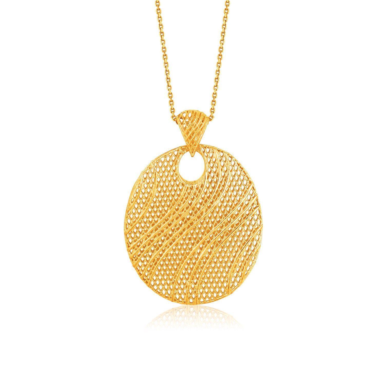 Italian design k yellow gold oval lattice pendant modeller
