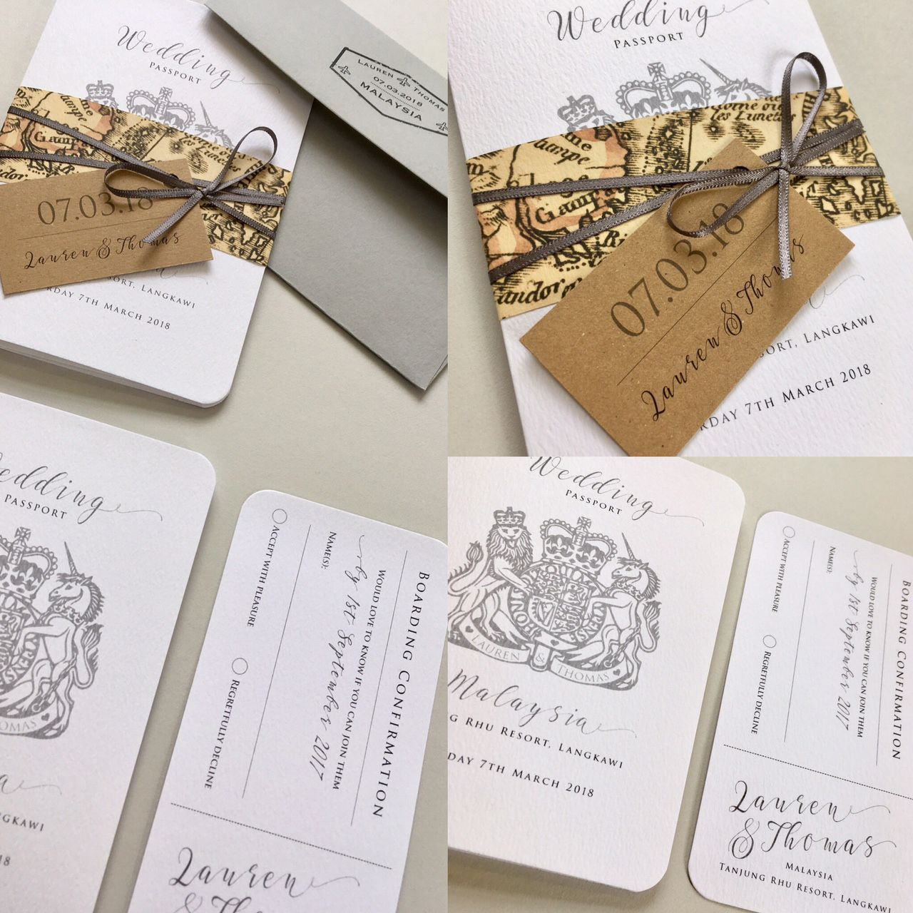Passport Wedding Invitation with boarding pass RSVP card