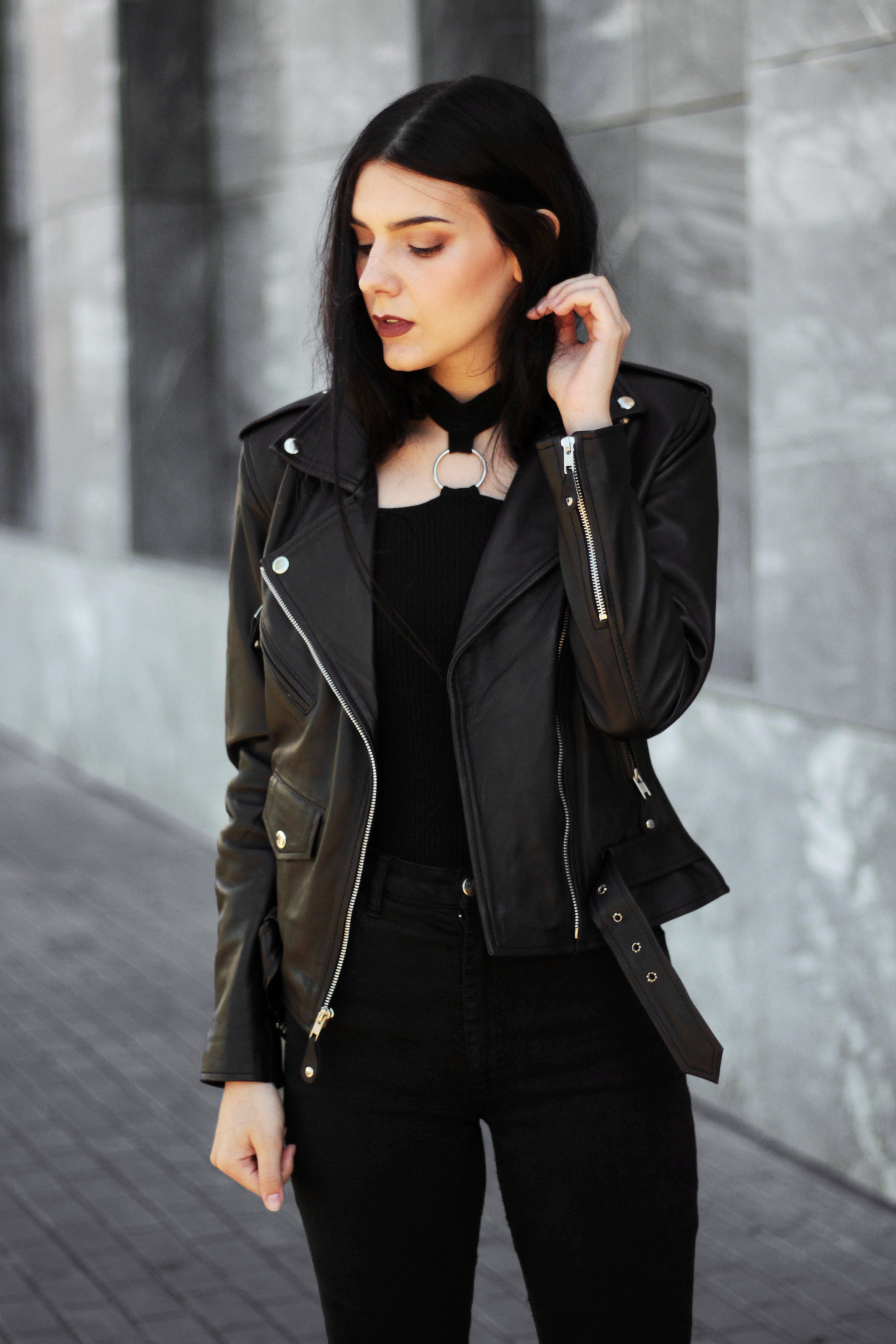 Leather Skin Brando Women Black Biker Motorcycle Leather