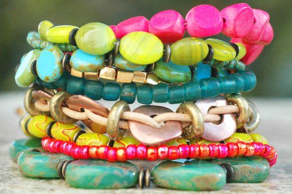 Blue, Green and Pink Artisan Mixed Media Heart Charm Bracelet