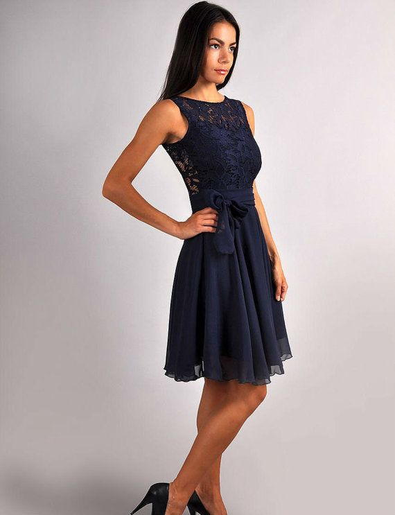 Bridesmaid Navy Blue Dress.Navy blue wedding.Sleeveless by Dioriss ...