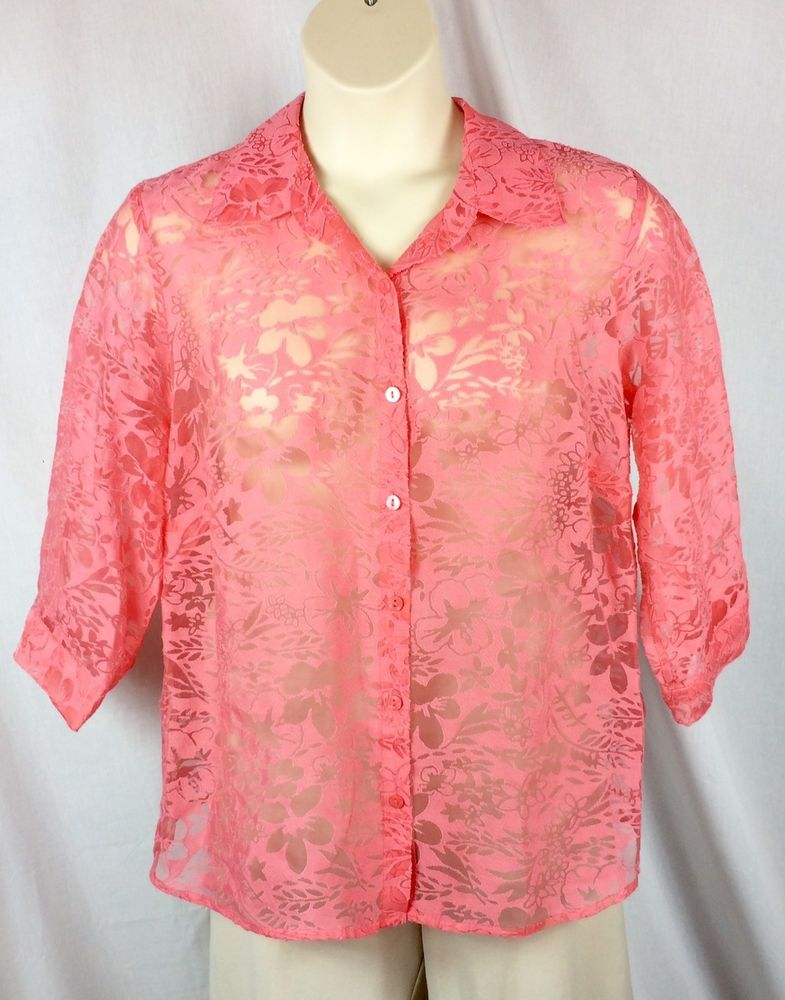 Womens Notations Sheer Button Down Blouse Plus Size 1x Salmon Pink 3