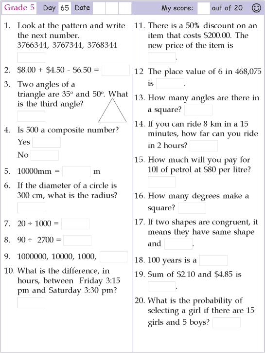Mental Math Grade 5 Day 65 Mental Math Math Pages Mental Maths Worksheets