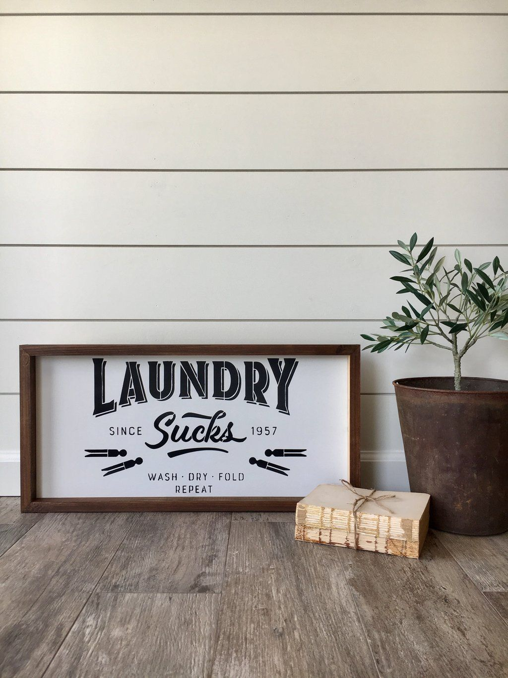 Laundry Room Wooden Signs Laundry Sucks Wooden Sign  House Of Boys & Beauty  Pantry