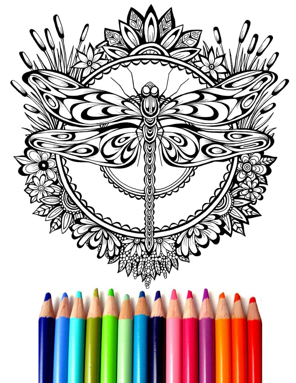 Dragonfly Mandala Coloring Sheet, Hand-Drawn Coloring Page, Dragon ...