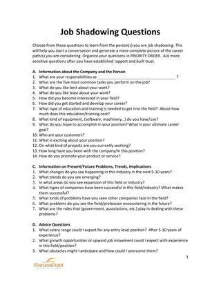 Job Shadowing Questionnaire Job shadow Job shadowing, Jobs for