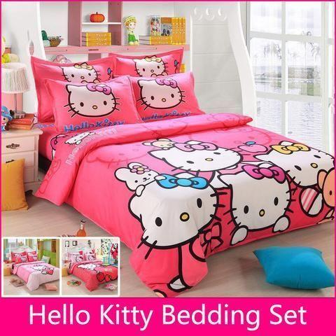 Smartypurchase Hello Kitty Bedding Set Cotton Duvet Cover Sheet