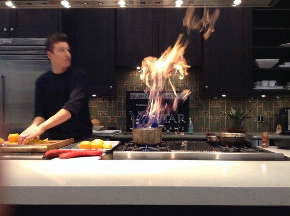 Chef Matthew Grunwald Preparing Orange Tuaca Compote   Caramelized Pear Pie  In Our Scottsdale Showroom,