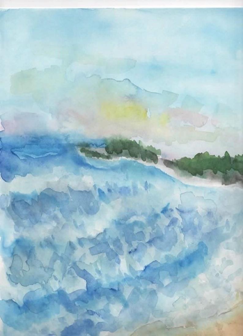 Sea original watercolor painting,beach decor wall art ...