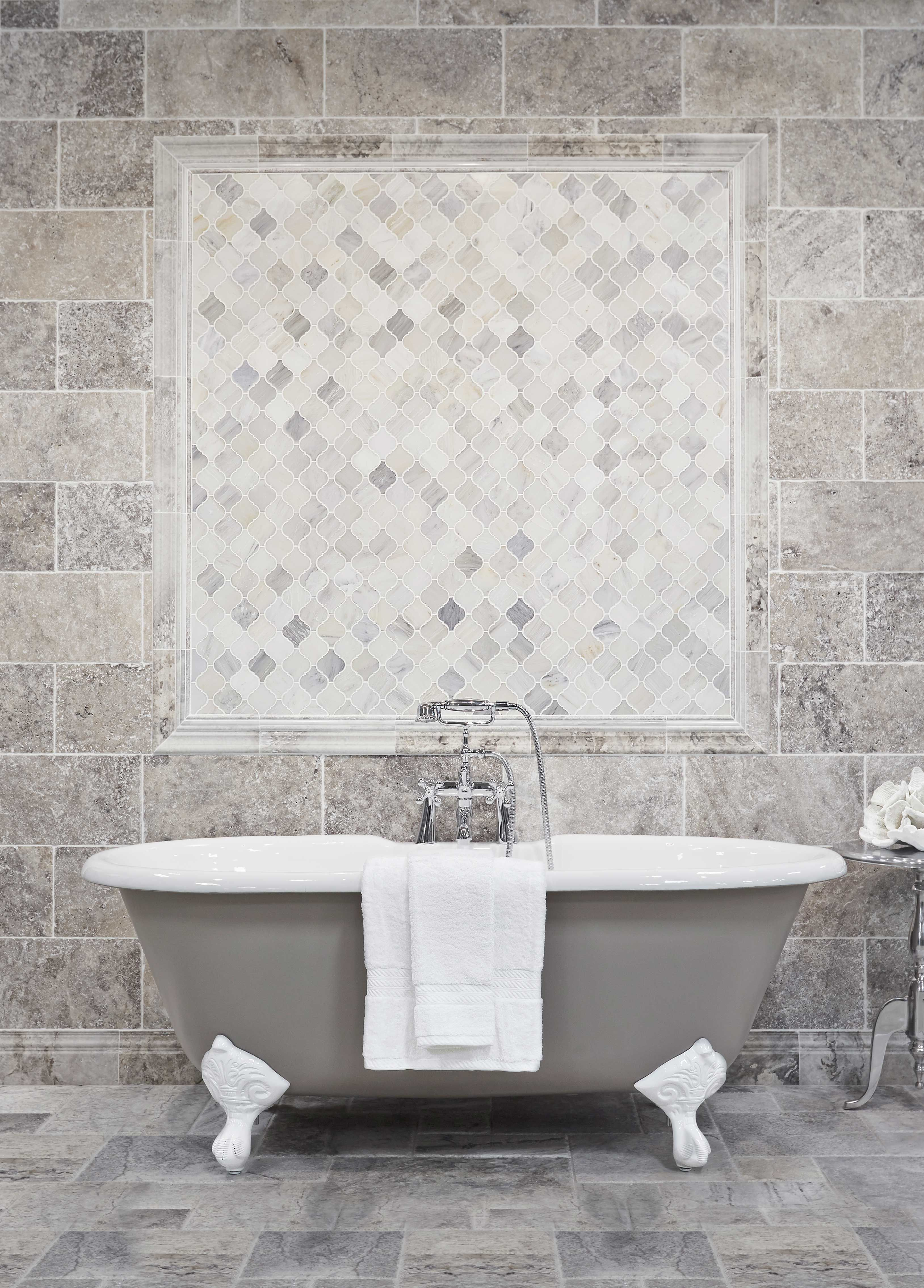 Bathroom Wall Tile Hampton Polished Arabesque Marble Mosaic Tile