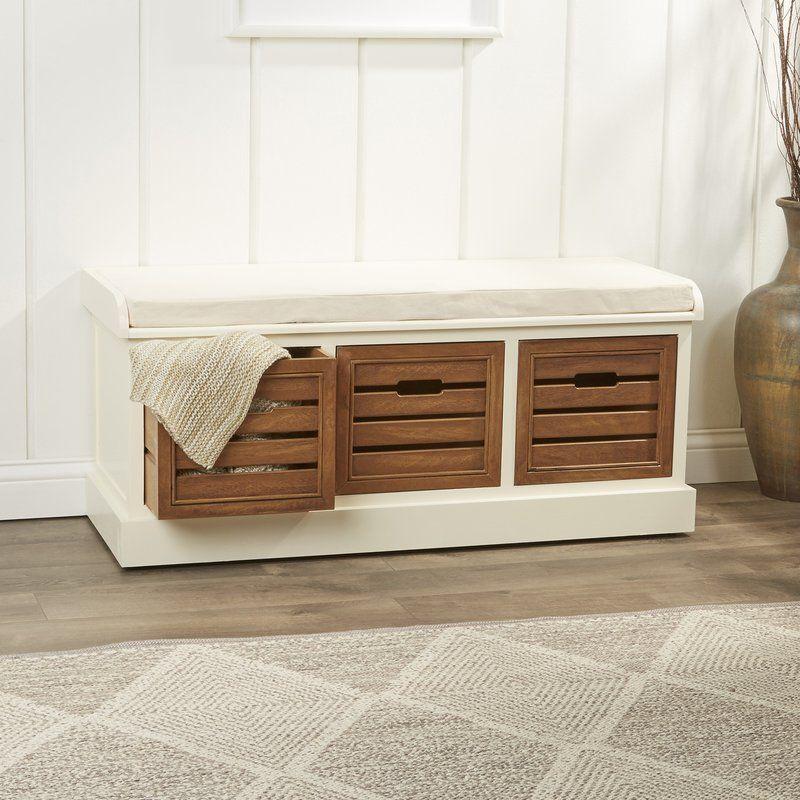 Upholstered Drawer Storage Bench Wood storage