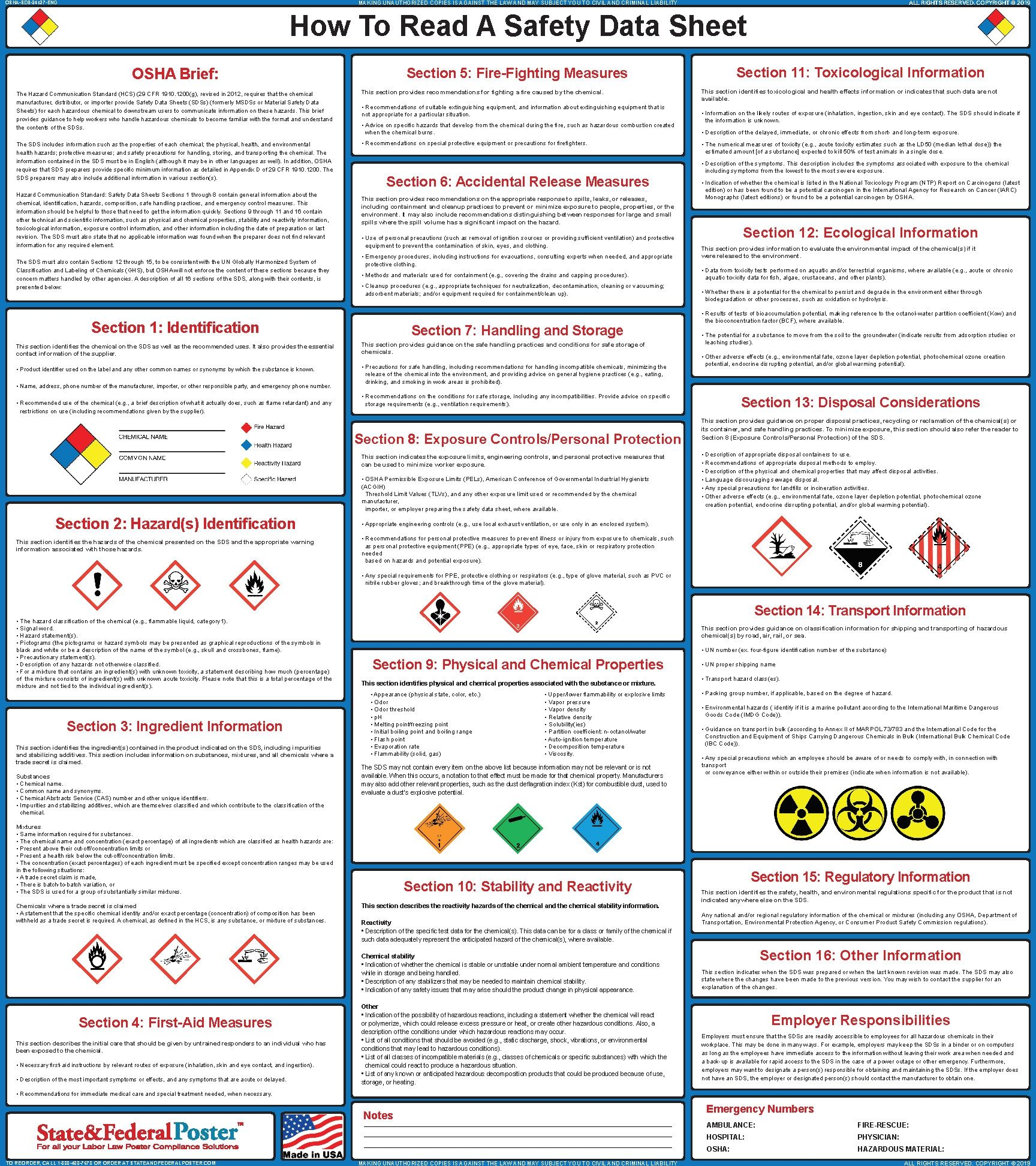 How To Read A Safety Data Sheet Poster Sds 24 X 27 Data