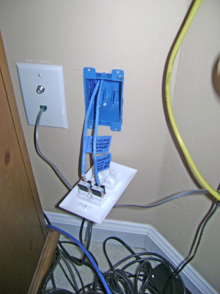 How To Install An Ethernet Jack For A Home Network Pulling Ethernet Cable From The Attic To The Basement Through The Plates On Wall Home Network Installation