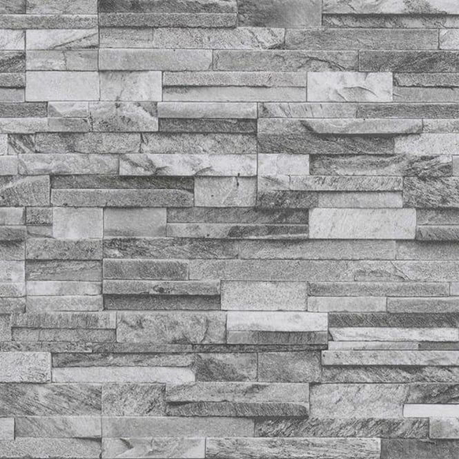 Slate Brick Pattern Faux Stone Effect Textured Wallpaper 42106 40 Brick Texture Exterior Wall Tiles Stone Accent Walls