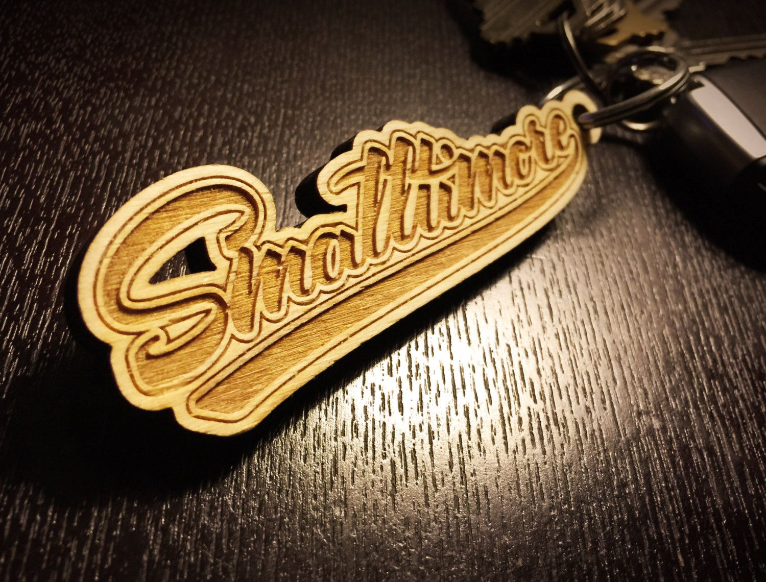 "Baltimore keychain with ""Smalltimore"" laser engraved in birch wood ..."