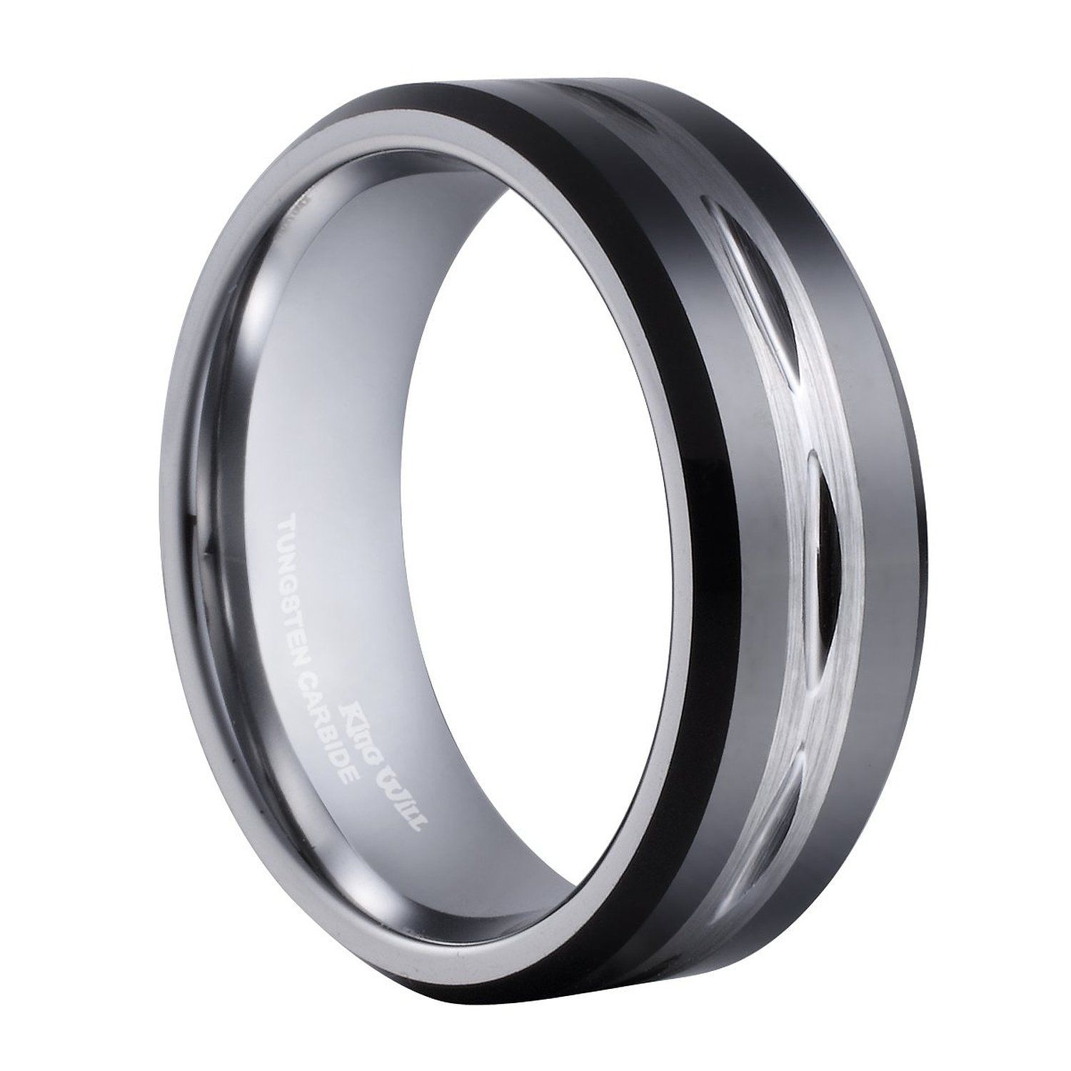 King Will Mens Black 8mm Tungsten Carbide Ring Two Tone