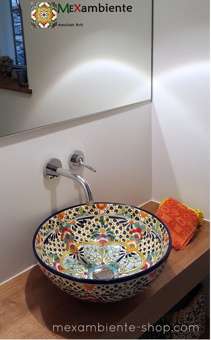 Great Guest Bathroom With A Hand Painted Mexican Washbasin By Mexambiente