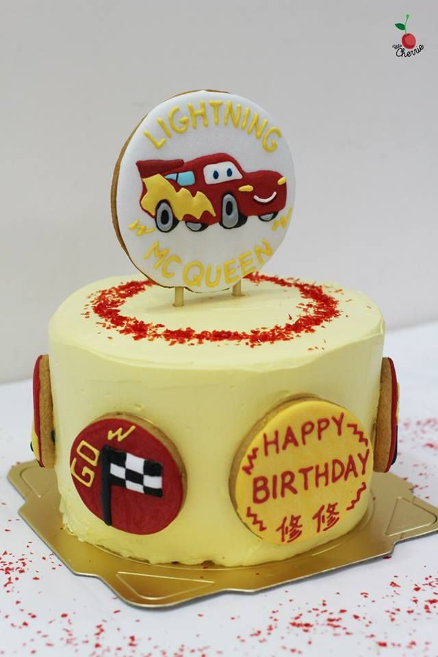 Lightning McQueen Birthday Cake Angel Food Cake with Peaches and