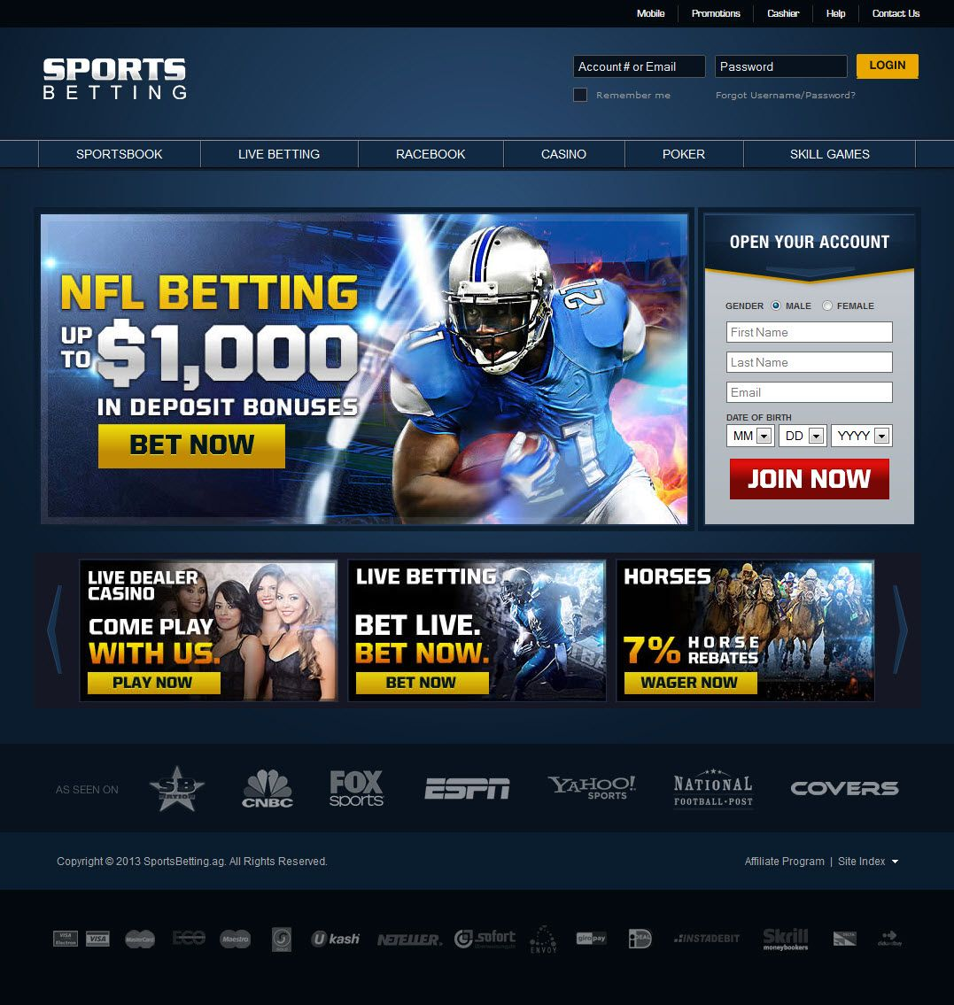 The homepage of sports betting site sportsbetting.ag