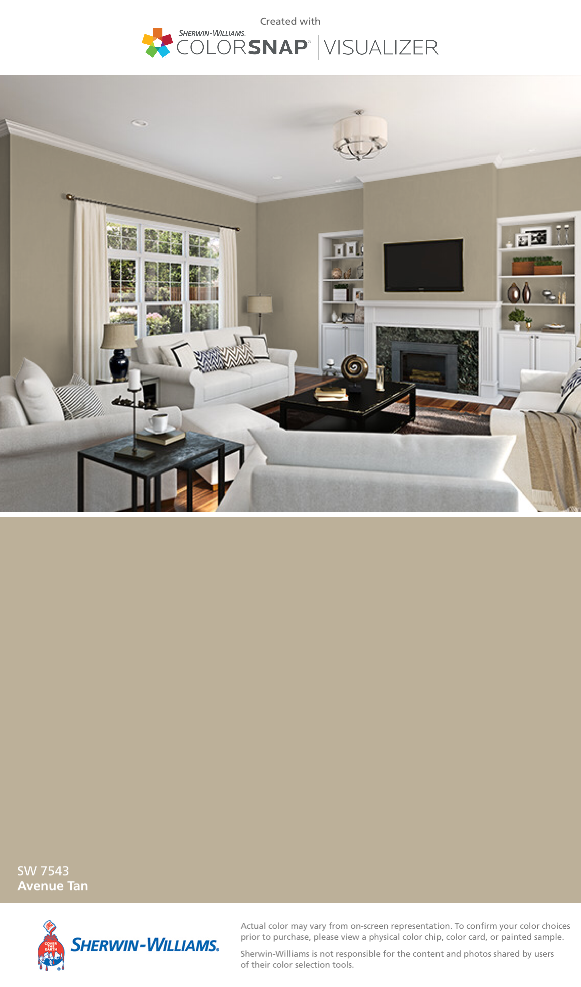 I found this color with colorsnap visualizer for iphone by sherwin williams avenue tan sw 7543