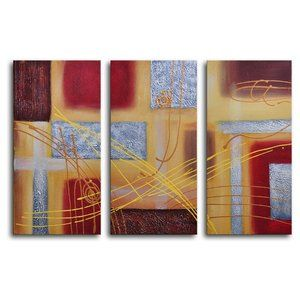 My Art Outlet Hand Painted Conducting On Metal 3 Piece Canvas Art Set 3 Piece Canvas Art Hand Painted Wall Art Wrapped Canvas Art