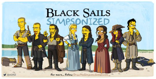 "Capt. Flint, Capt. Charles Vane, Anne Bonny, Eleanor Guthrie, Jack Rackham, Max, John Silver and Billy Bones from ""Black Sails"", a STARZ series about the golden age of piracy / Simpsonized by ADN"