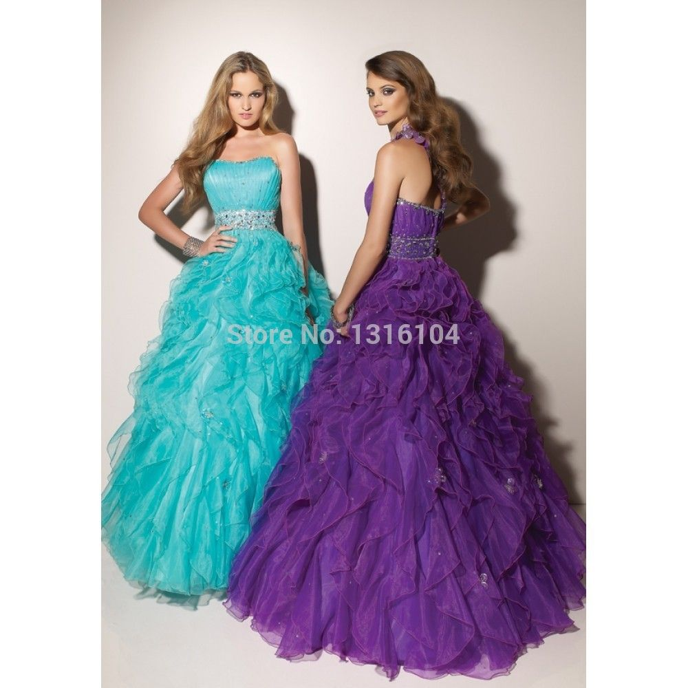 Click to Buy << 2017 New Coral Purple Puffy Ball Gown Floor Length ...