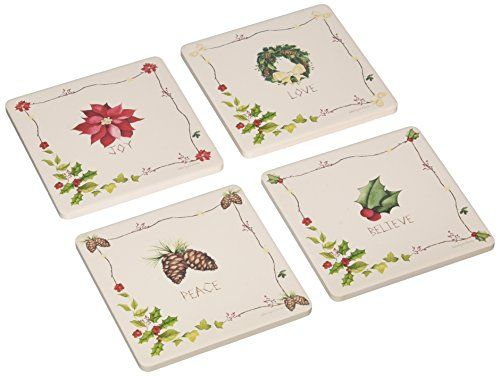 CoasterStone AS8760 Absorbent Coasters 414Inch Rustic Christmas Set of 4 *** For more information, visit image link.