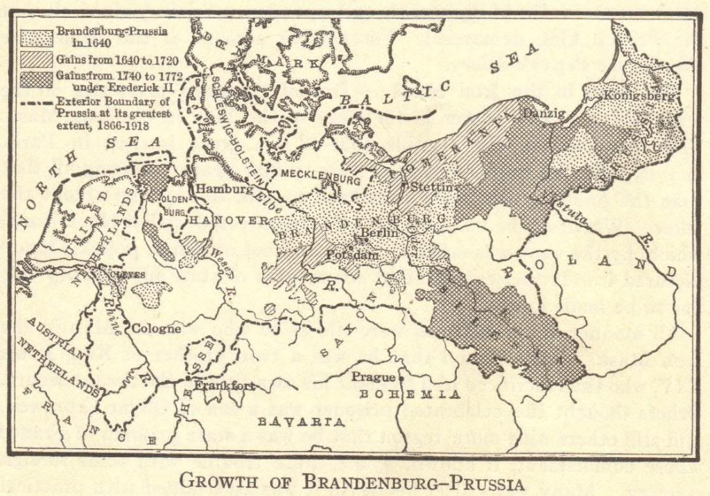 Map of the growth of BrandenburgPrussia 16401918 Social