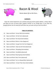 bacon and wool collection third grade reading comprehension ...