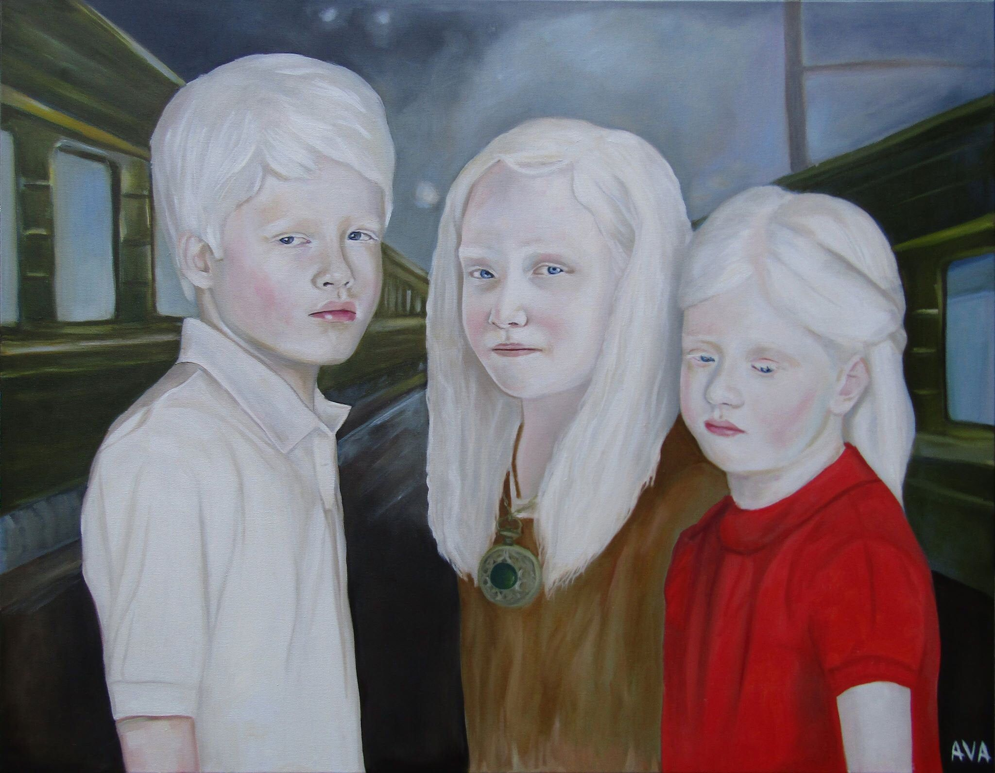 Excited To Share This Item From My Etsy Shop Large Oil Painting Children Albinos Waiting For The Train White Large Oil Painting Art Painting Oil Oil Painting