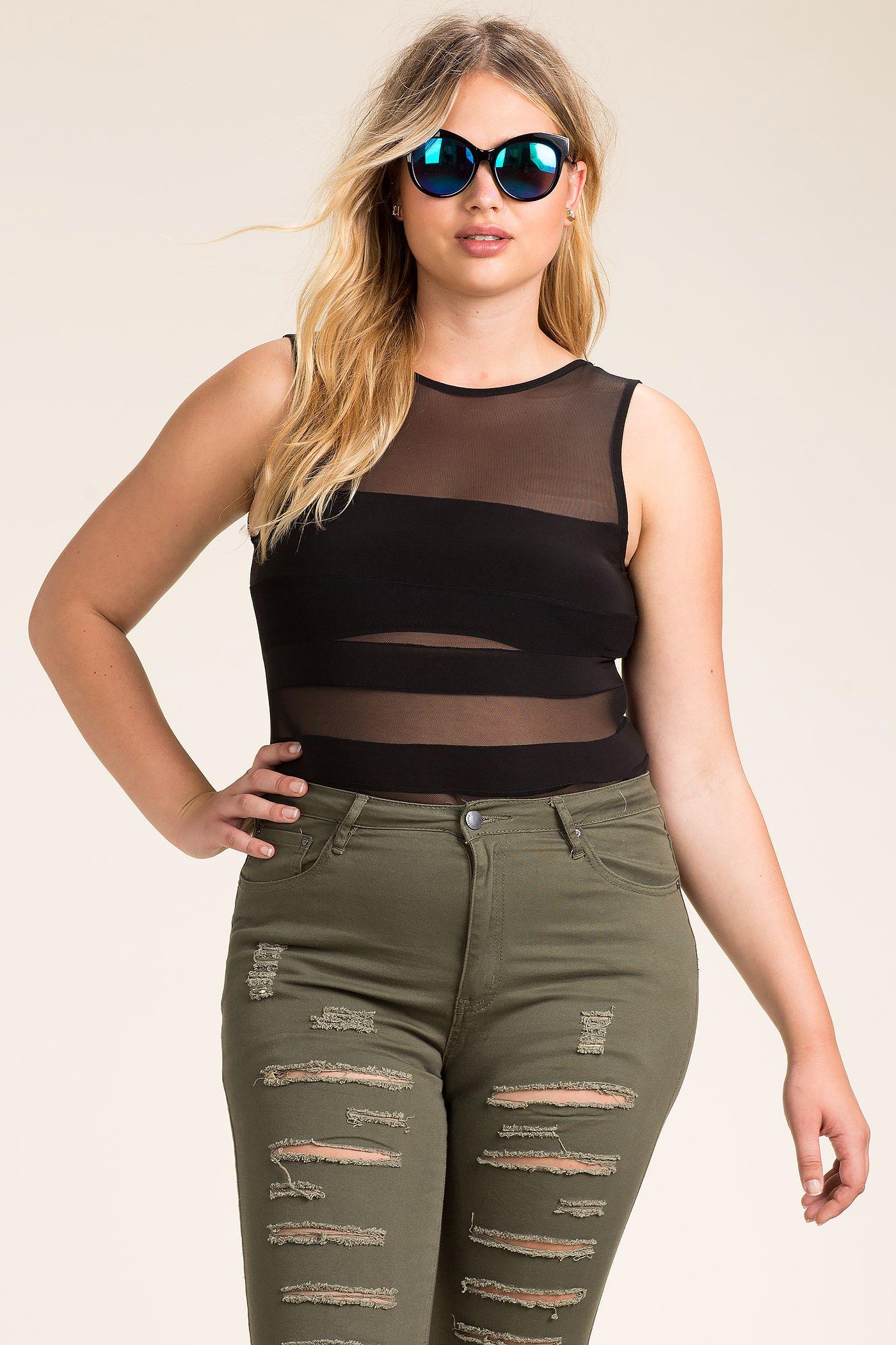 women's plus size bodysuits   bare bar mesh bodysuit   a'gaci
