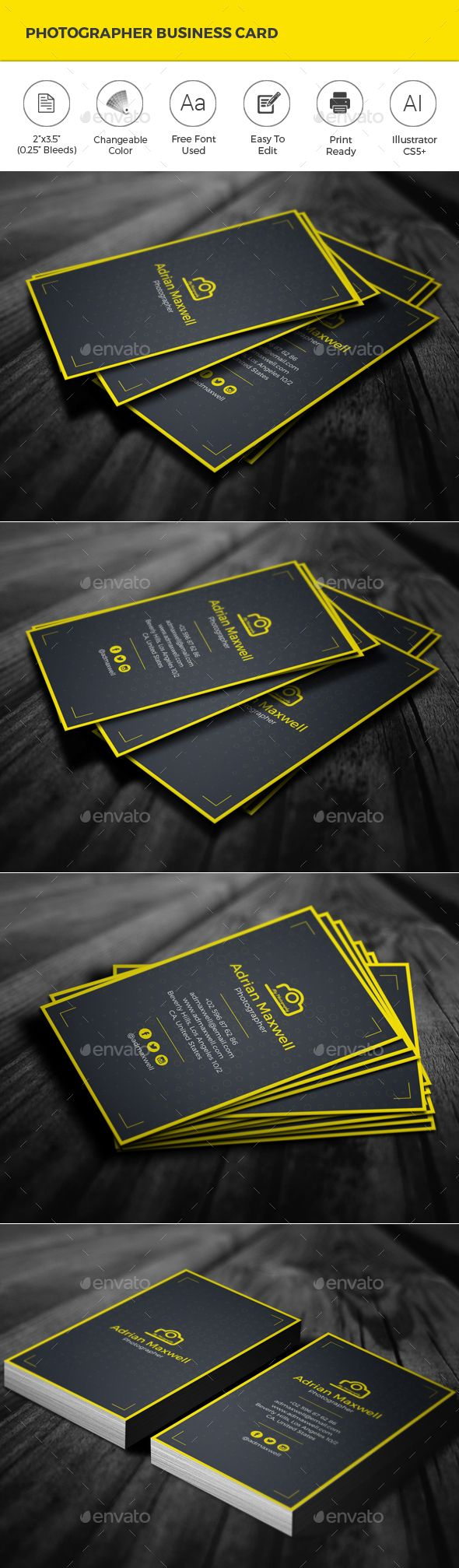 Photographer business card photographer business cards business photographer business card design template creative business card template vector eps ai illustrator reheart Image collections