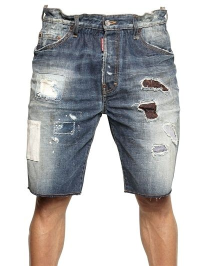 $675, Blue Denim Shorts: DSquared Big Deans Bro Mississippi Denim Shorts. Sold by LUISAVIAROMA. Click for more info: https://lookastic.com/men/shop_items/14709/redirect