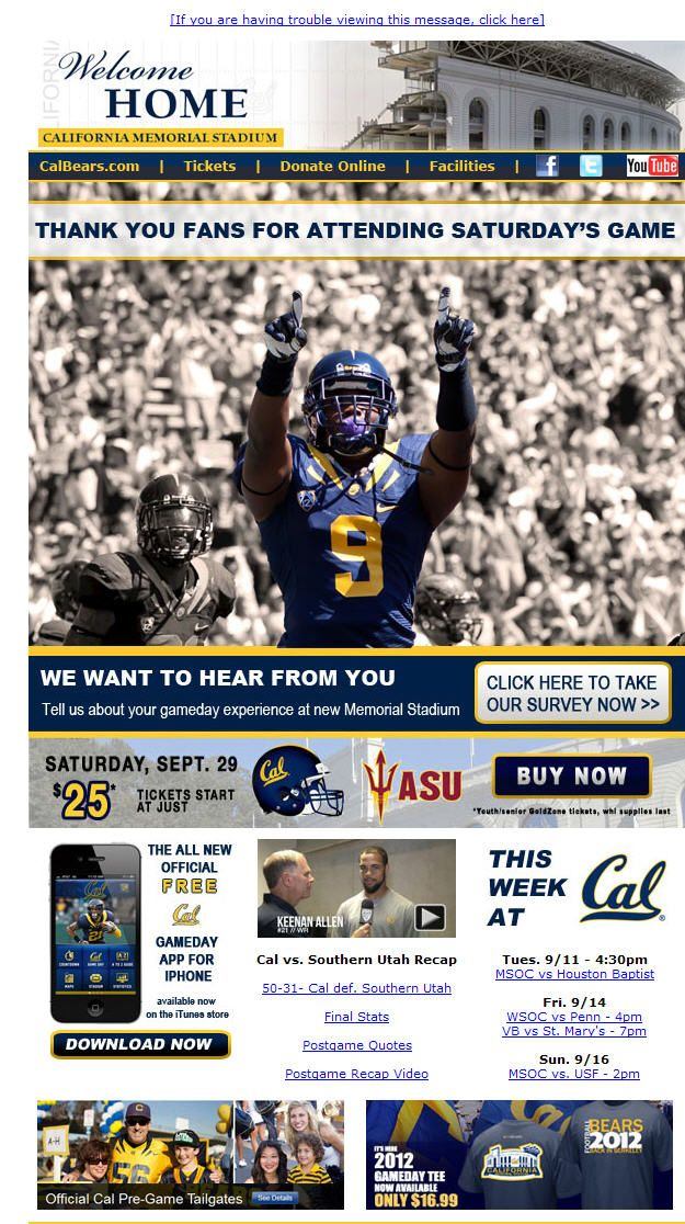 Cal - post-game thank you email College Athletics Newsletters - thank you email