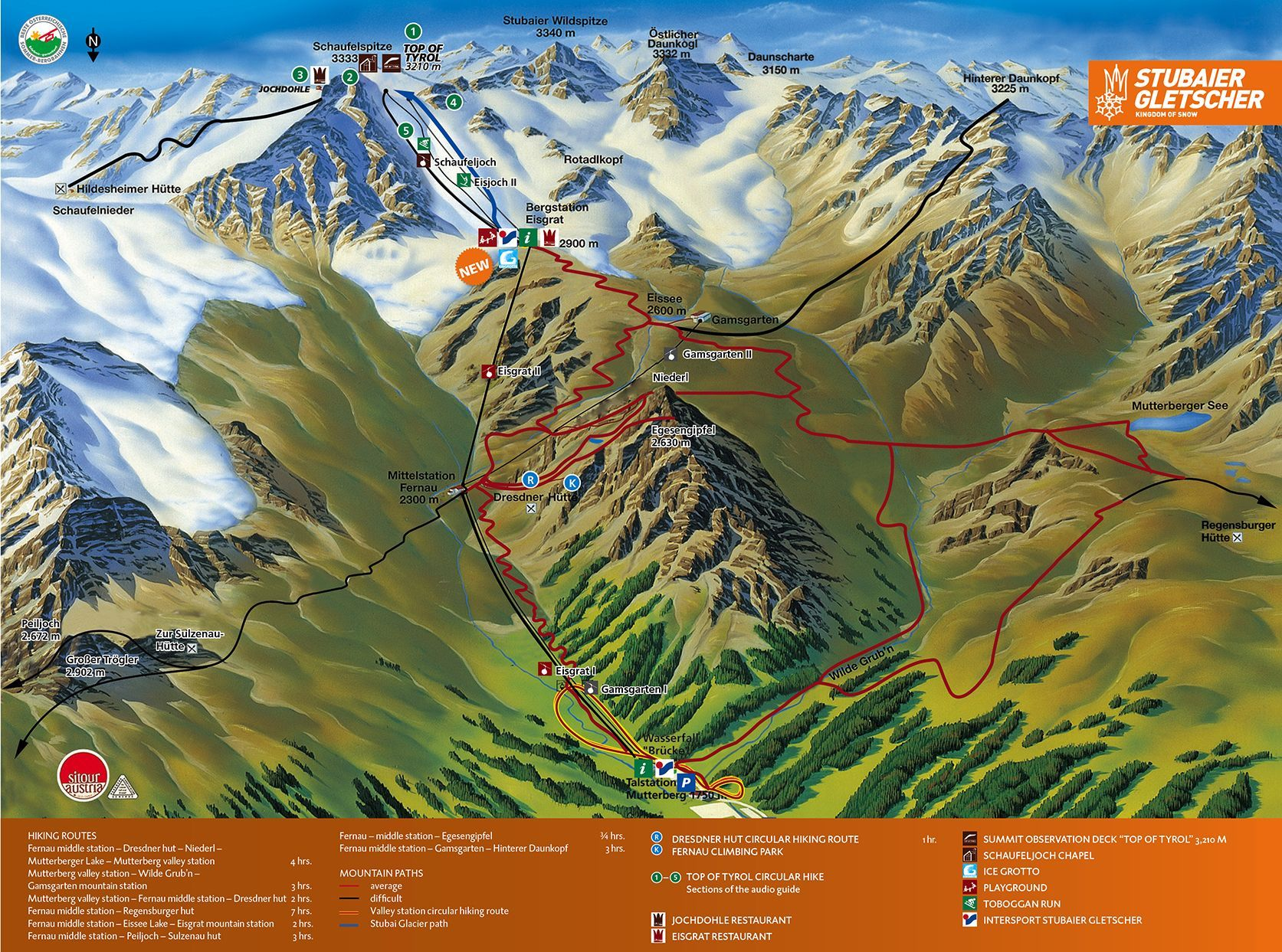 Summer Panorama Stubai Glacier Hiking Map Cool Places To Visit