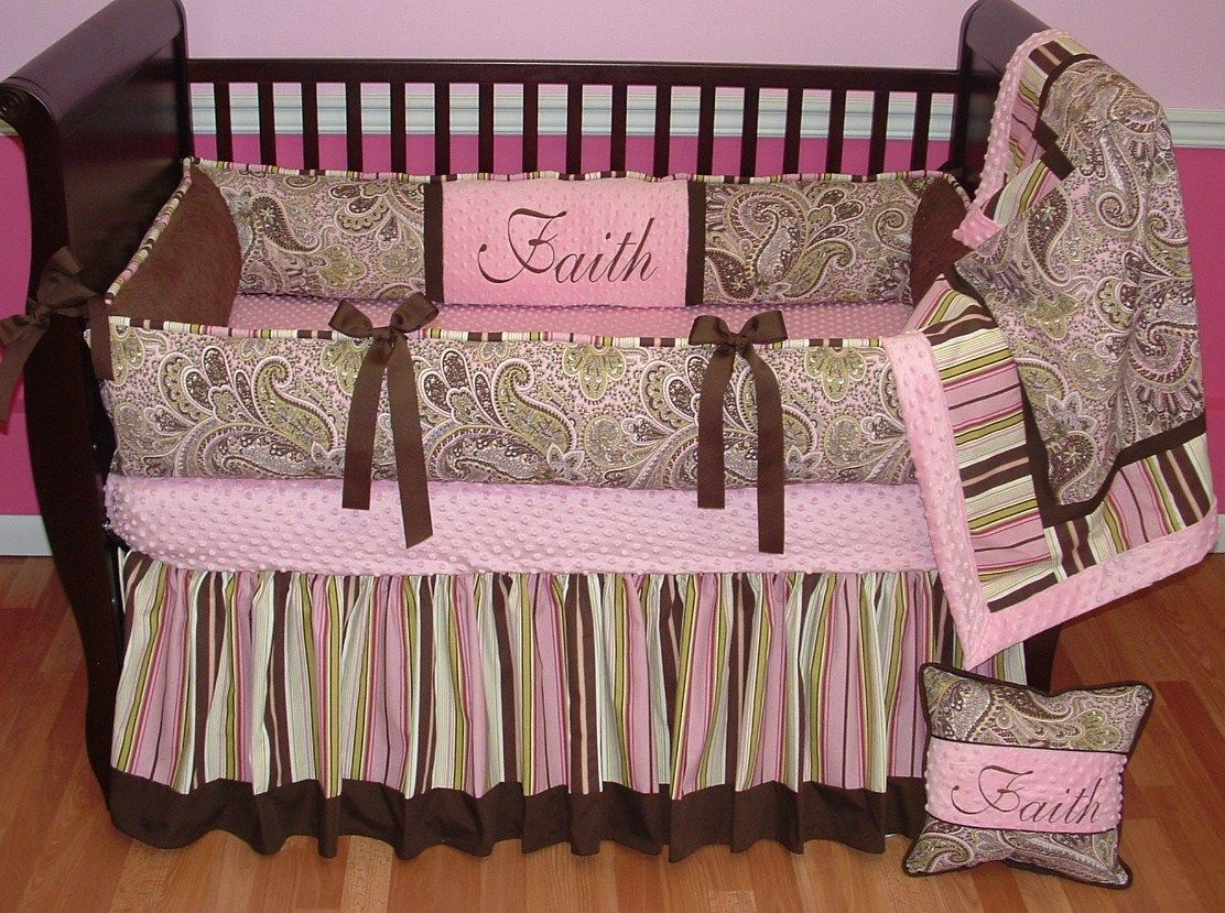 Baby girl paisley bedding - Avery Pink Paisley Crib Set This Custom Baby Crib Bedding Set Includes The Bumper Blanket